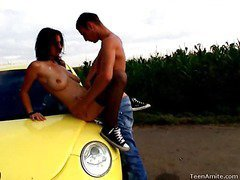 Berta wanted to go for a drive, but that babe didn`t tell her favourable boyfriend where this was going to end up. That Chick wanted some place where they could be alone and no one could hear her. This legal age teenager nympho is a loud moaner and when this guy really starts to fuck her hard, it`s becomes really difficult for her to stay quiet. But in this spot that`s in the middle of nowhere, they can be as loud as they want. They`re not holding back anything this time. That Guy pounds her bawdy cleft right on the hood of the car and covers her face with cum.
