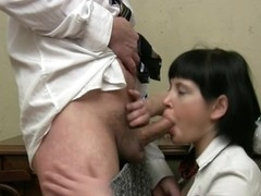 Lusty sweetheart is giving aged teacher a lusty oral-service session