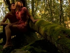 Adorable, yet horny amateur skinny sweetheart starts sex on the log