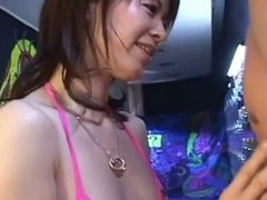Horny Japanese honey Ai Himeno in swimsuit is giving a hawt and horny oral stimulation here. That Babe tenderly play with the fellow ramrod, sucks it like a candy and expect for the large load. A must watch!